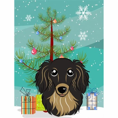 Christmas Tree and Longhair Black and Tan Dachshund Flag Canvas House Size Perspective: front
