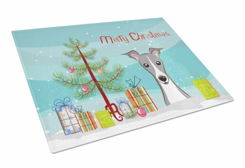 Christmas Tree and Italian Greyhound Glass Cutting Board Large Perspective: front