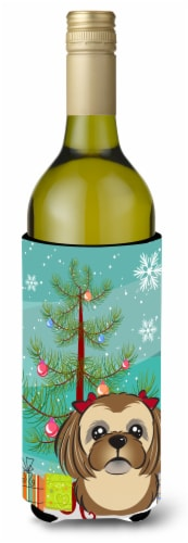 Christmas Tree and Chocolate Brown Shih Tzu Wine Bottle Beverage Insulator Hugge Perspective: front