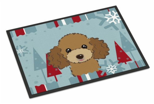 Winter Holiday Chocolate Brown Poodle Indoor or Outdoor Mat 24x36 Perspective: front