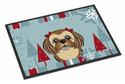 Winter Holiday Chocolate Brown Shih Tzu Indoor or Outdoor Mat 18x27 Perspective: front