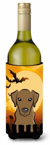 Halloween Chocolate Labrador Wine Bottle Beverage Insulator Hugger Perspective: front