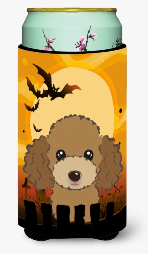 Halloween Chocolate Brown Poodle Tall Boy Beverage Insulator Hugger Perspective: front