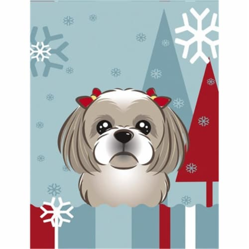 Winter Holiday Gray Silver Shih Tzu Flag Canvas House Size Perspective: front