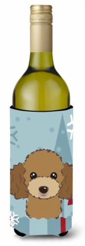 Winter Holiday Chocolate Brown Poodle Wine Bottle Beverage Insulator Hugger Perspective: front