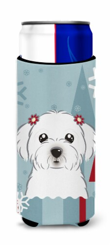 Winter Holiday Maltese Ultra Beverage Insulators for slim cans Perspective: front