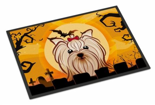 Halloween Yorkie Yorkishire Terrier Indoor or Outdoor Mat 24x36 Perspective: front
