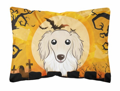 Halloween Longhair Creme Dachshund Fabric Decorative Pillow Perspective: front