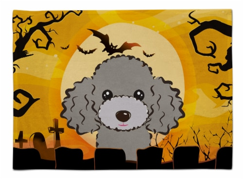 Carolines Treasures  BB1817PLMT Halloween Silver Gray Poodle Fabric Placemat Perspective: front