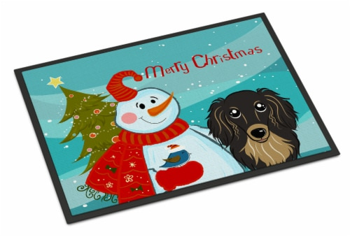 Snowman with Longhair Black and Tan Dachshund Indoor or Outdoor Mat 24x36 Perspective: front