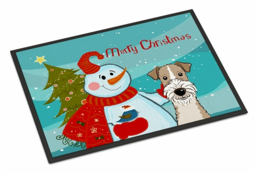 Snowman with Wire Haired Fox Terrier Indoor or Outdoor Mat 24x36 Perspective: front