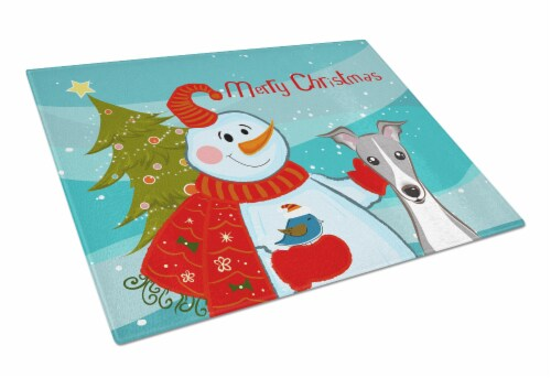 Snowman with Italian Greyhound Glass Cutting Board Large Perspective: front