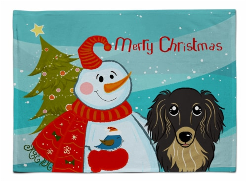 Snowman with Longhair Black and Tan Dachshund Fabric Placemat Perspective: front