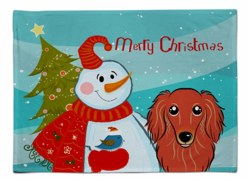 Snowman with Longhair Red Dachshund Fabric Placemat Perspective: front