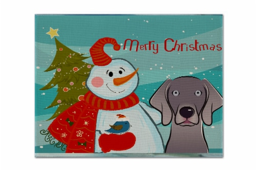 Carolines Treasures  BB1851PLMT Snowman with Weimaraner Fabric Placemat Perspective: front