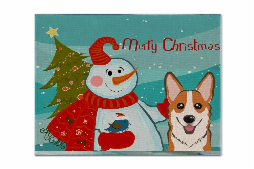 Carolines Treasures  BB1874PLMT Snowman with Red Corgi Fabric Placemat Perspective: front