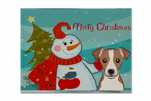 Snowman with Jack Russell Terrier Fabric Placemat Perspective: front