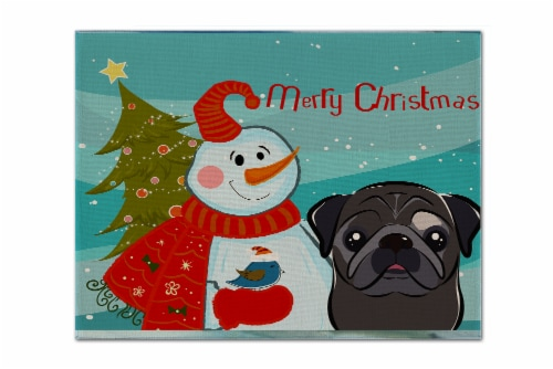 Carolines Treasures  BB1883PLMT Snowman with Black Pug Fabric Placemat Perspective: front