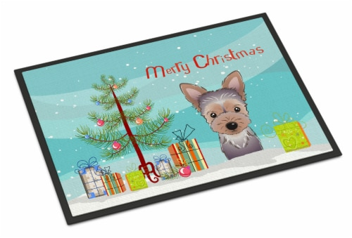Christmas Tree and Yorkie Puppy Indoor or Outdoor Mat 18x27 Perspective: front