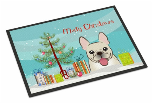 Christmas Tree and French Bulldog Indoor or Outdoor Mat 24x36 Perspective: front