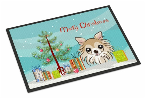 Christmas Tree and Chihuahua Indoor or Outdoor Mat 24x36 Perspective: front