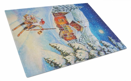 Christmas Gnome Headed out Glass Cutting Board Large Perspective: front