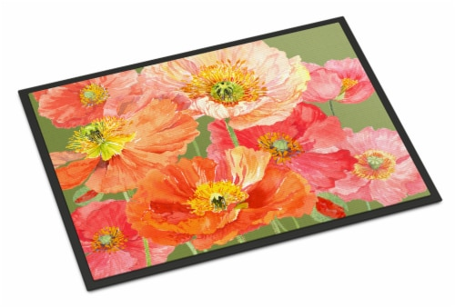 Poppies by Anne Searle Indoor or Outdoor Mat 24x36 Perspective: front