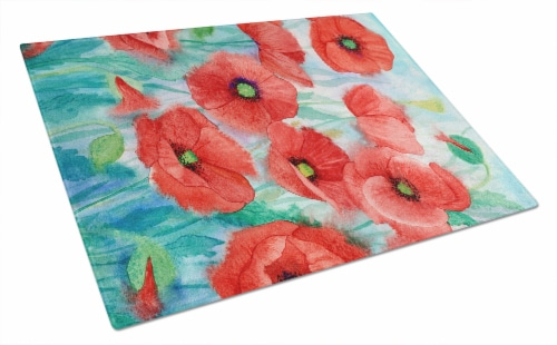 Carolines Treasures  IBD0258LCB Poppies Glass Cutting Board Large Perspective: front