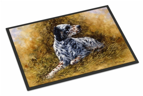 English Setter by Michael Herring Indoor or Outdoor Mat 18x27 Perspective: front