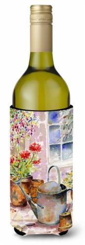 Watering Can Flowers Wine Bottle Beverage Insulator Hugger Perspective: front