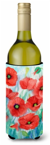 Carolines Treasures  IBD0258LITERK Poppies Wine Bottle Beverage Insulator Hugger Perspective: front