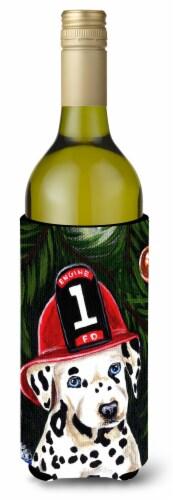 Fire Fighter Christmas Dalmatian Wine Bottle Beverage Insulator Hugger Perspective: front