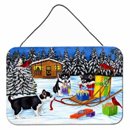 Christmas Mush Siberian Husky Wall or Door Hanging Prints Perspective: front