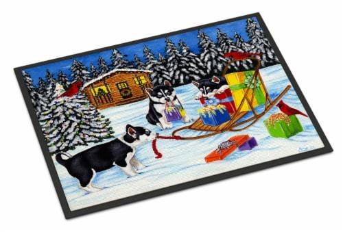 Christmas Mush Siberian Husky Indoor or Outdoor Mat 24x36 Perspective: front