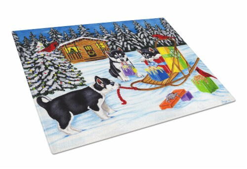 Christmas Mush Siberian Husky Glass Cutting Board Large Perspective: front