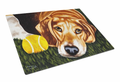 Have Ball Will Travel Beagle Glass Cutting Board Large Perspective: front