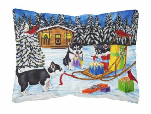 Christmas Mush Siberian Husky Fabric Decorative Pillow Perspective: front