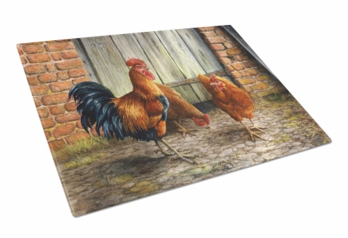 Rooster and Chickens by Daphne Baxter Glass Cutting Board Large Perspective: front