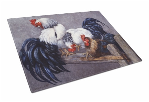 Carolines Treasures  BDBA0208LCB Roosters Roosting Glass Cutting Board Large Perspective: front