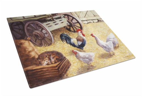 Rooster and Hens Chickens in the Barn Glass Cutting Board Large Perspective: front