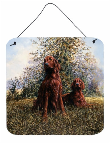 Red Irish Setters by Michael Herring Wall or Door Hanging Prints Perspective: front