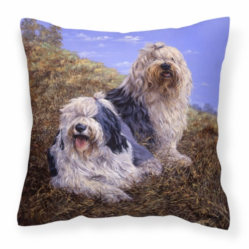 Old English Sheepdogs by Michael Herring Canvas Decorative Pillow Perspective: front
