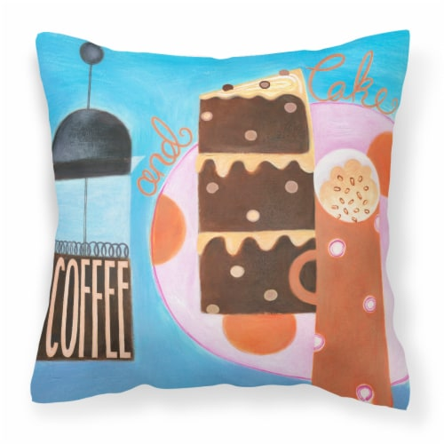 Kitchen Collection Coffee and Cake Canvas Decorative Pillow Perspective: front