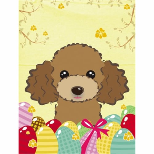 Chocolate Brown Poodle Easter Egg Hunt Flag Canvas House Size Perspective: front