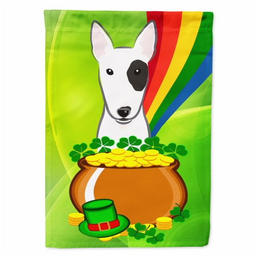 Bull Terrier St. Patrick's Day Flag Canvas House Size Perspective: front