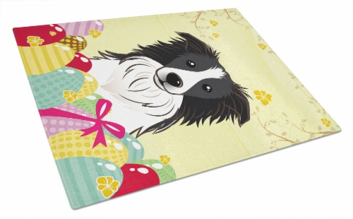 Border Collie Easter Egg Hunt Glass Cutting Board Large Perspective: front