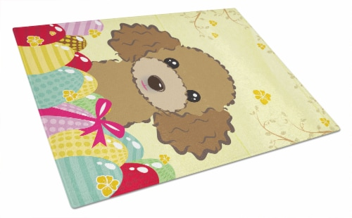 Chocolate Brown Poodle Easter Egg Hunt Glass Cutting Board Large Perspective: front