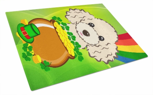 Buff Poodle St. Patrick's Day Glass Cutting Board Large Perspective: front