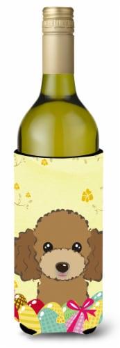 Chocolate Brown Poodle Easter Egg Hunt Wine Bottle beverage Insulator Hugger Perspective: front