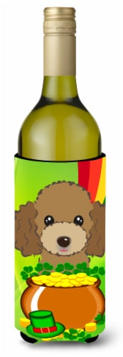Chocolate Brown Poodle St. Patrick's Day Wine Bottle beverage Insulator Hugger Perspective: front